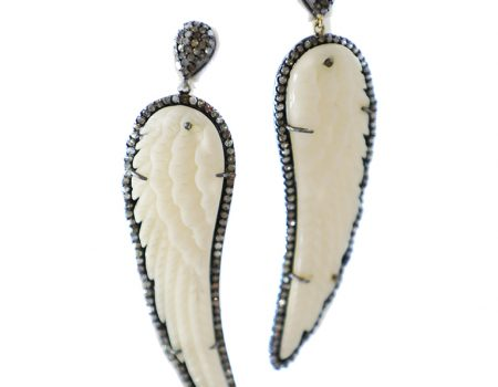 Bone and Diamond Earrings