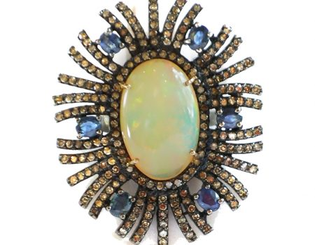 Opal, Sapphire and Diamond Ring