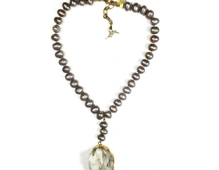 Grey and Gold Druzy Statement Necklace on Pearl Chain