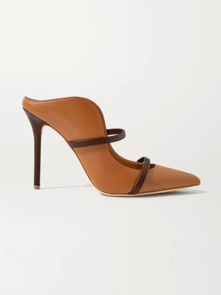 brown clogs and mules